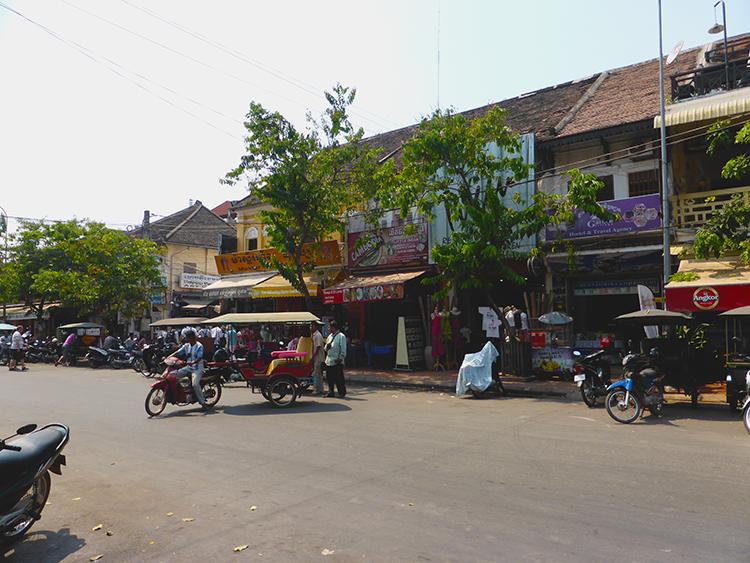 Ei av sentrumsgatene i Siem Reap